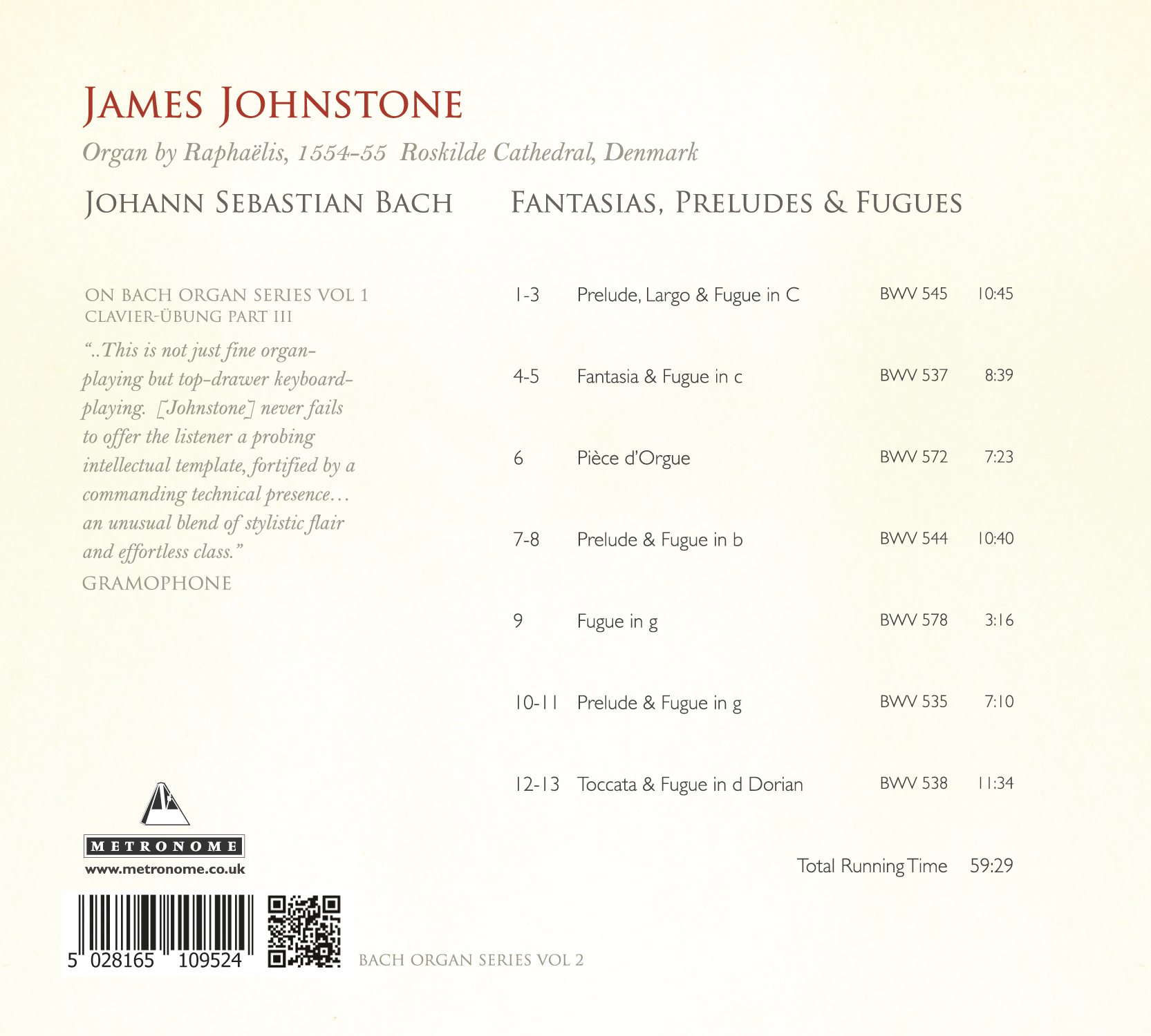 METCD 1095 James Johnstone-Bach Roskilde Back Track Listing
